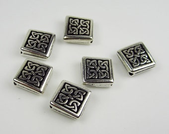 6 Silver Tierracast Diamond Celtic Beads