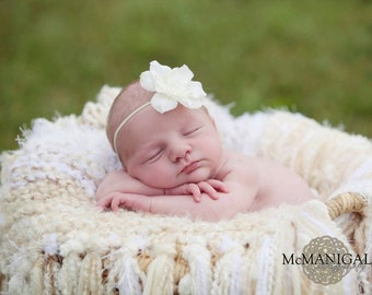 ivory baby headband, small ivory flower, christening headband