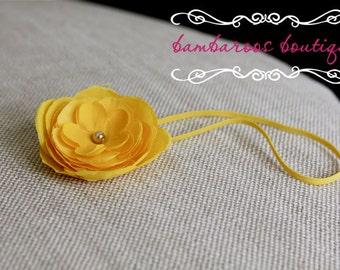 baby headband, yellow baby headband, newborn headband, flower girl accessories, photo prop, photography props