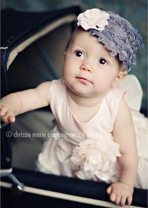 Newborn Feather Headband, Pink Small Flower, baby headband