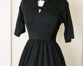 vintage 40's FILM NOIR black dress size S