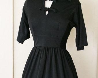 vintage 40's FILM NOIR black dress size S