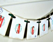 Magical Christmas garland, Christmas decor, red and green magical wreath banner, holiday party decor, vintage inspired sign, photo prop