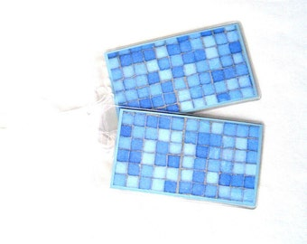 Tiles luggage tags, gray and blue squares id tags, set of 2 travel accessories, women's luggage id tags, suitcase tags, backpack id tag