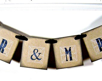 Mr & Mrs wedding sign, vintage inspired black and white mr and mrs banner, rustic wedding decor, mr mrs garland, party decor, photo prop