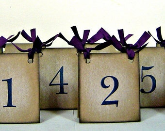 Rustic table numbers, vintage inspired purple table numbers wedding, wedding party decor, set of 10 table number tent, reception decoration