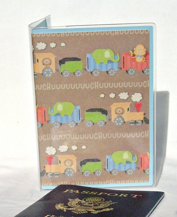 Train passport wallet, kid's travel wallet, document holder, zoo animals passport cover, baby's travel wallet, luggage accessory, id case