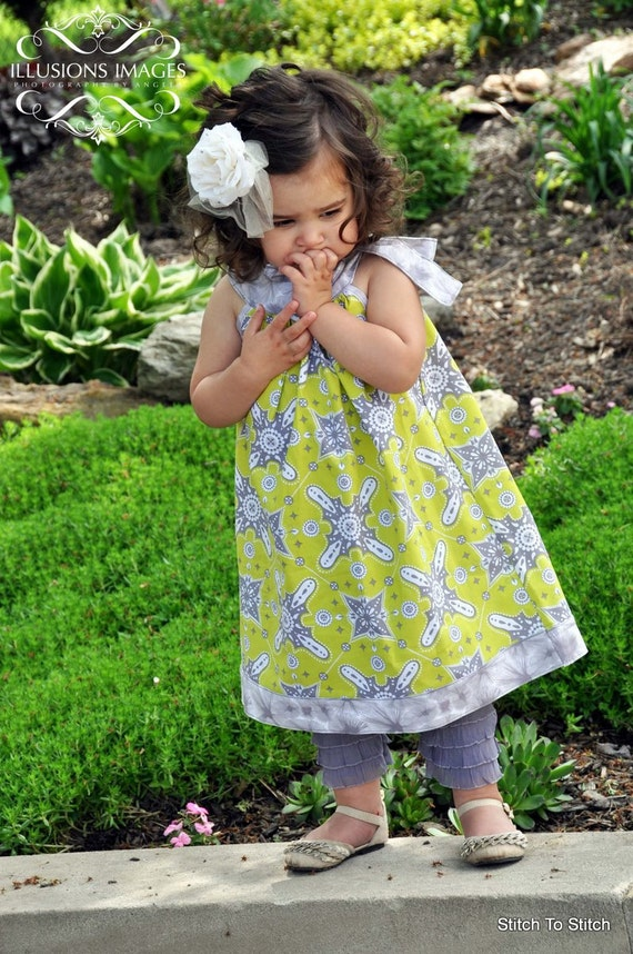 Girls Chartreuse and Grey A-line Dress with Round Neckline and Bow (sizes 12M to 5T)