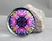 Columbine Glass Paperweight Boho Chic Mandala New Age Sacred Geometry Hippie Kaleidoscope Wonderfully Wild