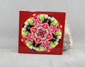 Autumn Leaves Decorative Ceramic tile Coaster Sacred Geometry Kaleidoscope Fall Dream Catcher