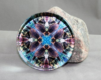 Sea Turtle Glass Paperweight Boho Chic Mandala New Age Sacred Geometry Hippie Kaleidoscope Unique Boss Gift Teacher Gift Gordan Green
