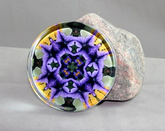 Petunia Paperweight Boho Chic Mandala New Age Sacred Geometry Hippie Kaleidoscope Unique Boss Gift Teacher Gift Mod Gypsy Viva La Violet