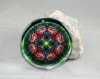 Butterfly Glass Paperweight Boho Chic Mandala New Age Sacred Geometry Hippie Kaleidoscope Mod Unique Boss Coworker Gift Monarch Melody