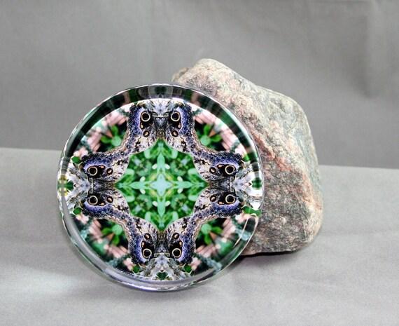 Butterfly Glass Paperweight Boho Chic Mandala New Age Sacred Geometry Hippie Kaleidoscope Graceful Gaze