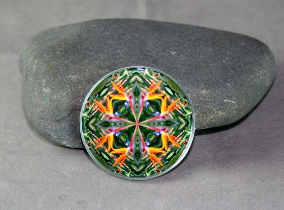 Bird of Paradise Magnet Boho Chic Mandala New Age Sacred Geometry Hippie Kaleidoscope Feathered Fauna