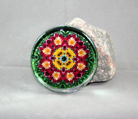 Dahlia Glass Paperweight Boho Chic Mandala New Age Sacred Geometry Hippie Kaleidoscope Dignified Elegance