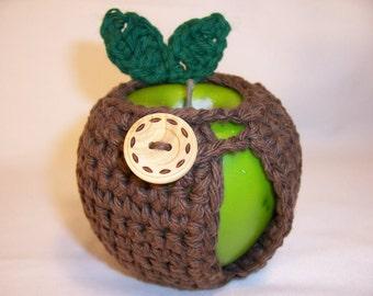 Handmade Crocheted Apple Cozy - Crochet Apple Cozy  In Brown Color
