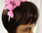 Light Pink Sparkle Butterfly Headband - fairy, love, romance, woodland, girl's headband