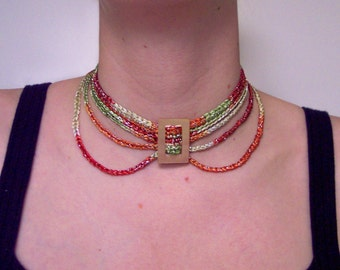 SPARKLE Crocheted CHOKER with Draping and MOP Buckle