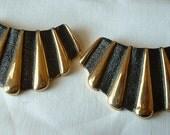 Vintage FRENCH 1950 Gold & Black Shoe Buckles DIVINE