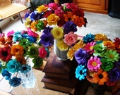 Paper Flowers In Bright or pastel colors. 50  stemmed flowers perfect for any vase filled to the max with everlasting flowers
