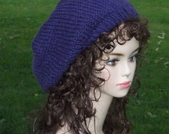 Knit Slouch Hat  Royal Blue