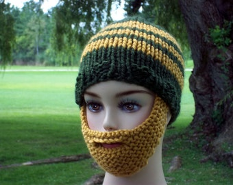 Bearded Beanie Hat  Green Gold or Select Your Own Colors