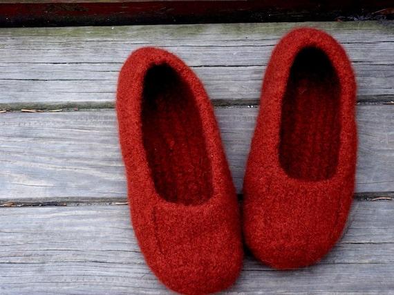 Felted Slippers Wine Women Men Children's  sizes non slip bottom