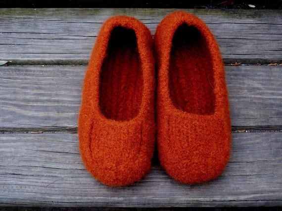 Felted Slippers Orange Marsala Women Men Children's Sizes non slip bottoms