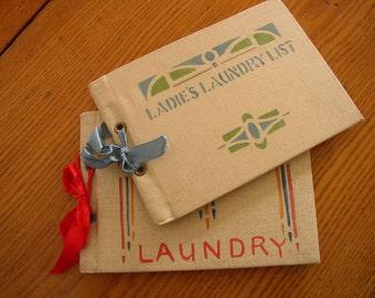 Antique Laundry Receipt Books 1910 Ladie's List Vintage Ledger Tickets