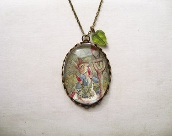 Peter Rabbit Necklace (beatrix potter. magnifying pendant. art book illustration. fairytale jewelry. whimsical antique jewellery)