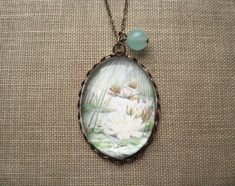 Jeremy Fisher Necklace (beatrix potter. magnifying pendant. art book illustration. fairytale jewelry. whimsical antique jewellery)