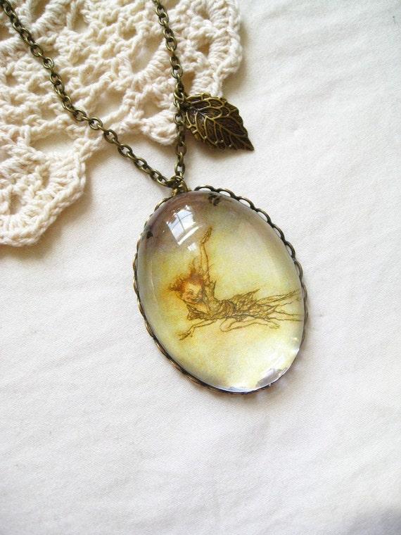 Peter Pan Flying Necklace  (arthur rackham. magnifying pendant. art book illustration. fairytale jewelry. whimsical jewellery)