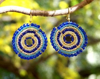 Indigo and Cobalt Blue Maasai Beaded Earrings (large)