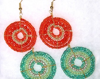 Teal and Vermilion Maasai (African) Beaded Earrings (Large)