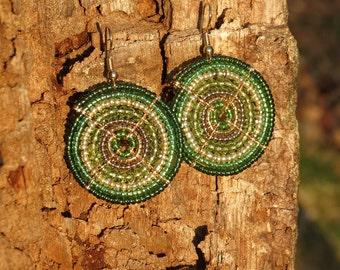 African Emerald and Kelly Green Maasai Beaded Earrings (Small)