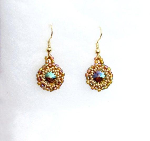Amber and Gold Rivoli Earrings