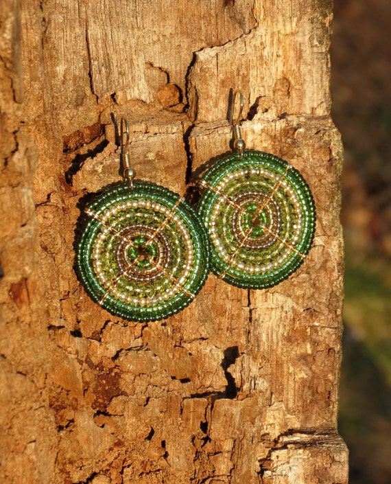 African Emerald and Kelly Green Maasai Beaded Earrings (Small)