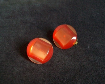 Vintage moonglow lucite orange clip on earring buttons art deco free shipping to USA