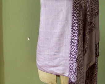 Vintage silk shawl long  wrap tasseled deep purple paisley 100% silk made in Italy Free shipping to USA