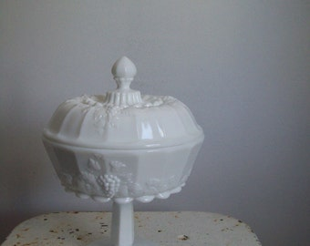 Westmoreland milk glass compote Westmoreland Paneled Grape milk glass large covered footed bowl compote perfect condition