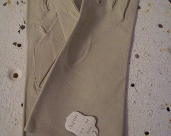 Vintage kidskin leather gloves by Guante Varade Madrid NOS long leather gloves never worn ecru 1950s Free shipping USA