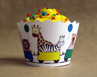 zoo train birthday party cupcake wrappers decorations in primary boy colors - set of 12