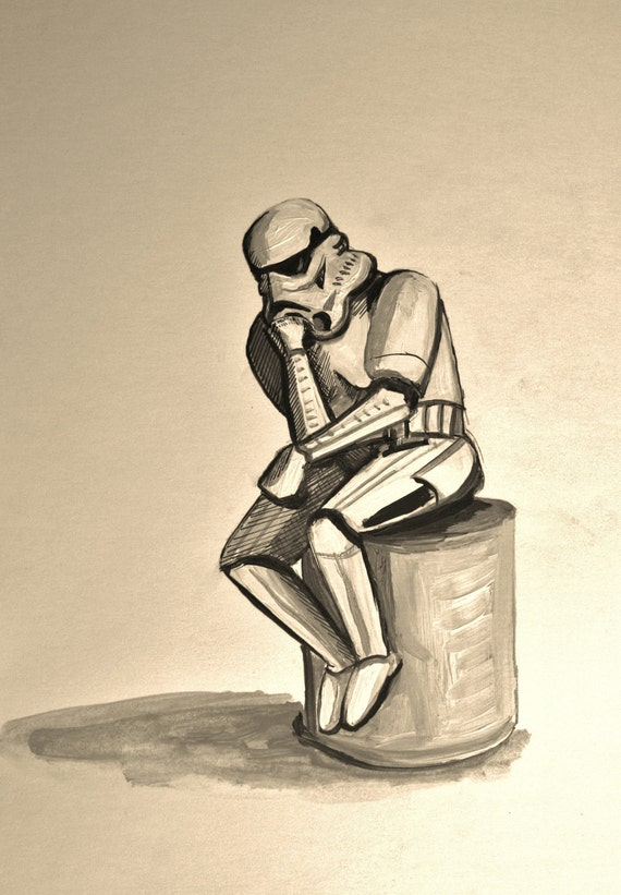 Stormtrooper as The Thinker, sepia print or black and white print various sizes