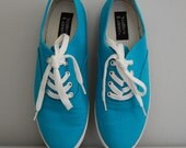 90s sky blue textile lace up sneakers 7