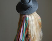 80s slate grey straw wide brimmed hat