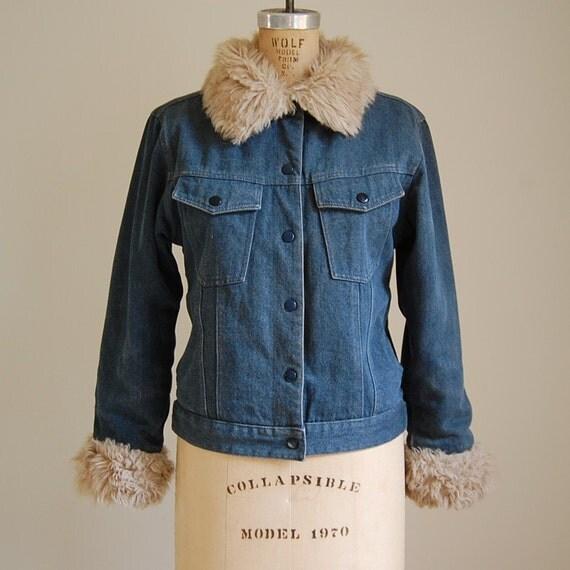 80s denim and shearling reversible jacket M