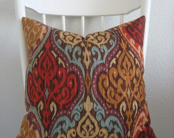 Lunar Sky Sunset colorful ikat  red turquoise purple decorative pillow cover