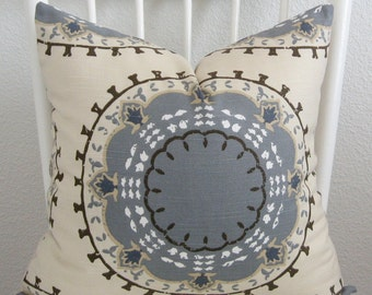 Dwell Studio Medallion Band Suzani Mineral decorative pillow cover