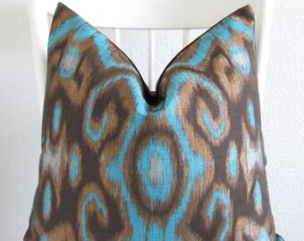 Robert Allen Quintessence Tourmaline Ikat Turquoise Pillow Cover